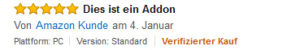 Vermerk auf den verifzierten Kauf bei Amazon