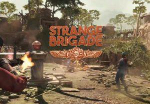 Logo von Strange Brigade mit einem Screenshot im Hintergrund
