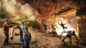 Eine Granate zerlegt eine Gruppe an Gegnern