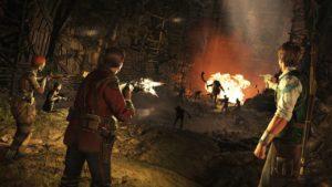 Abenteurer kämpfen in der Höhle